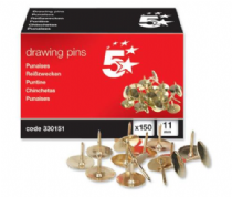 5 Star Drawing Pins, Brass Plated - Pack of 150